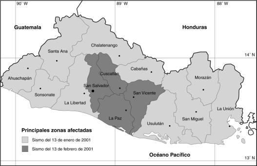 las zonas afectadas por los sismos del 13 de enero y del 13 de febrero